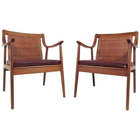 cane armchairs pair john stuart style midcentury cane back armchairs for