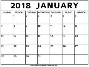Calendar For January 2018 January 2018 Calendar Print Calendar From Free Printable
