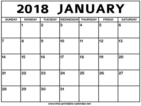 25 blank printable january 2018 calendar free templates online