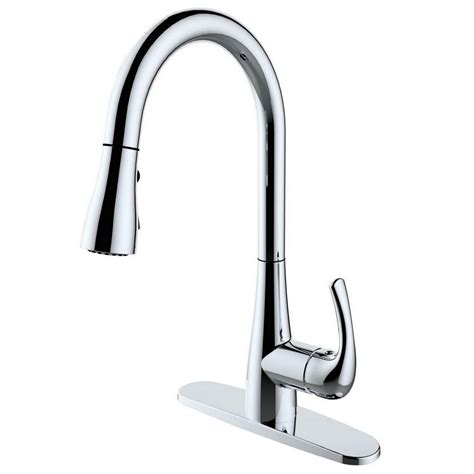 home depot kitchen faucets pull runfine single handle pull sprayer kitchen faucet in chrome rf421008 the home depot
