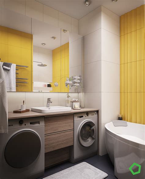 bright bathroom colors 3 open layout interiors with yellow as the highlight color