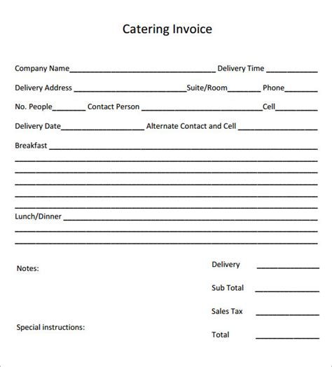 catering templates catering invoice sle 16 documents in pdf