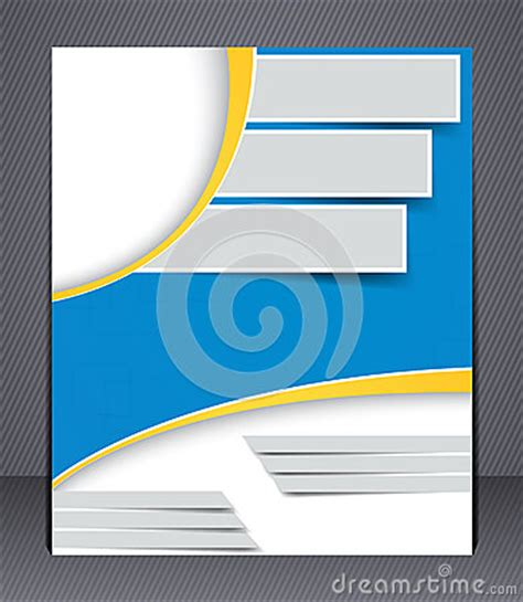 design magazine cover template brochure design in blue and yellow colors royalty free