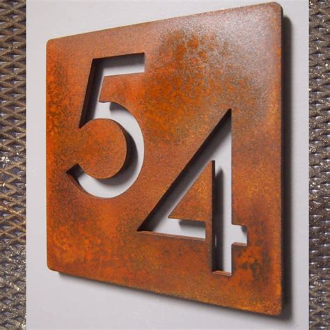 metal house numbers custom modern 9 quot square floating house numbers rusted steel