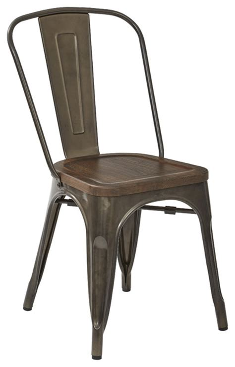 Officestar Indio Metal Chair Ash Walnut Wood Seat Matte Metal Frame Dining Chairs