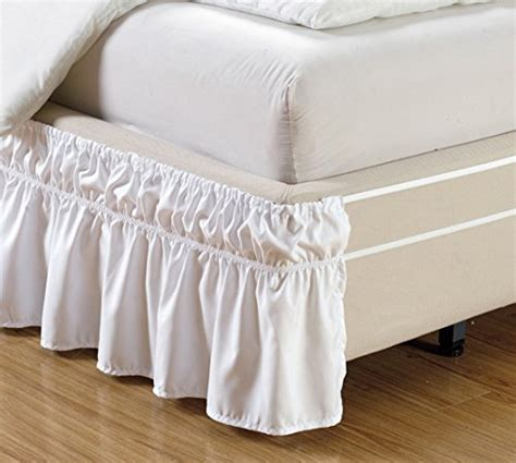 Wrap Around Bed Frame Wrap Around Style White Ruffled Solid Bed Skirt Fits Both And King Size Bedding 100 Soft