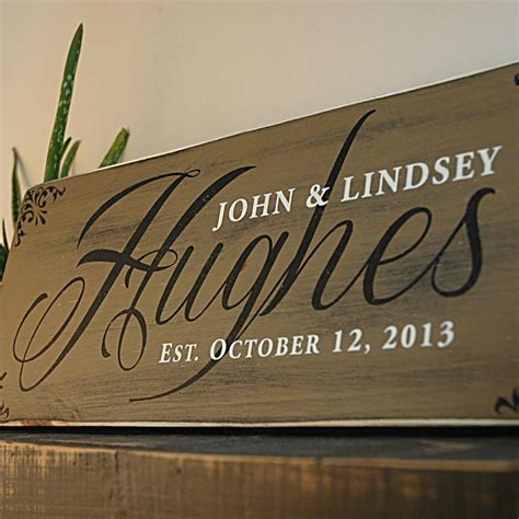 Handmade Family Name Signs - custom wood family established sign in rustic finish