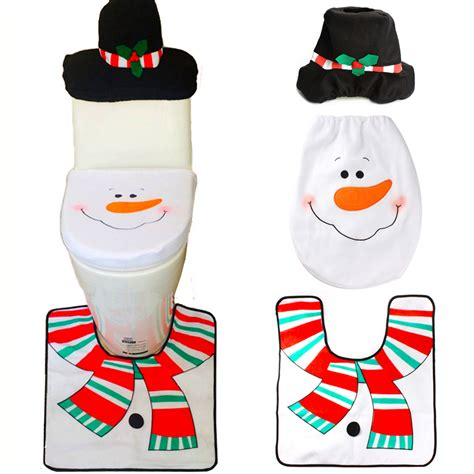 snowman toilet seat cover and rug set 1 sets decorations toilet seat cover and