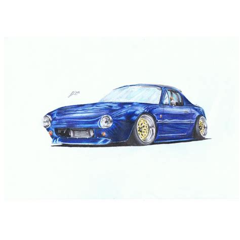 stanced cars drawing car stanced out miata with pit crew racing