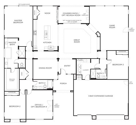 One Level Home Plans by Floorplan 2 3 4 Bedrooms 3 Bathrooms 3400 Square