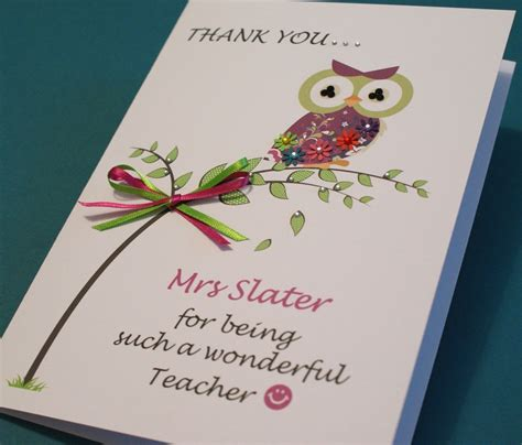 Handmade Thank You Cards For Teachers - large handmade personalised thank you owl