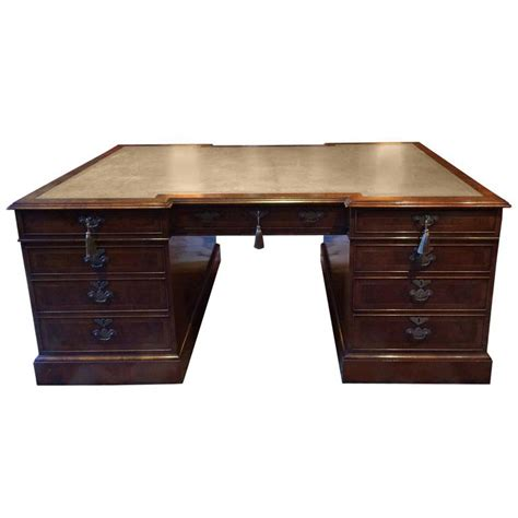 antique style large partners desk walnut brights of