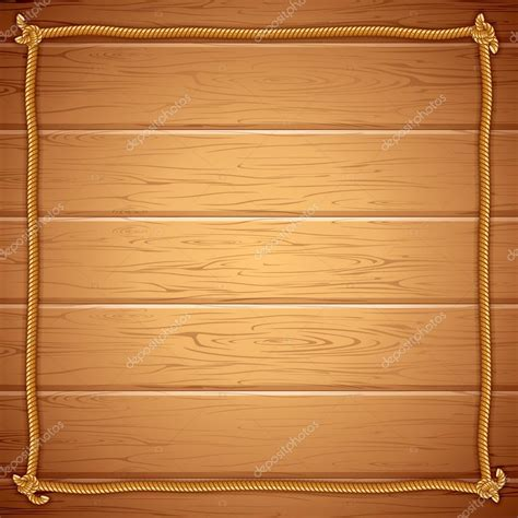 rope frame on wood vector template for yuor text stock