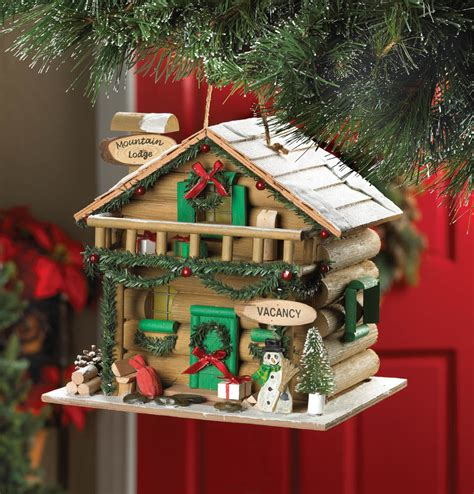 wholesale holiday mountain lodge birdhouse outdoor decor cheap