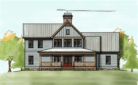 Farmhouse Plans With Porches by 2 Story House Plan With Covered Front Porch