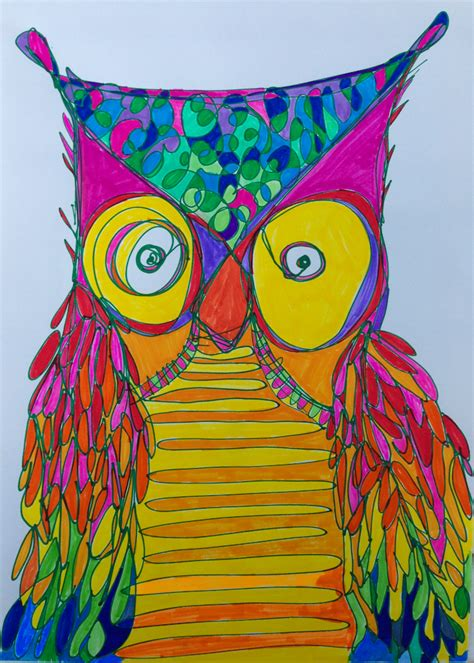 Crazy Owl Drawing Really Owl Drawings With Color