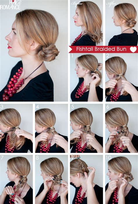 put your on a haircut how to fishtail braided bun hairstyle hair romance