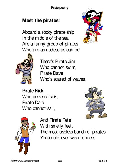 new year poems ks1 pirate poetry poems on a theme home page