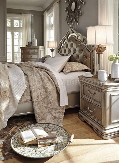 ashley furniture b720 birlanny traditional queen king birlanny bedroom b720 in silver finish by ashley furniture