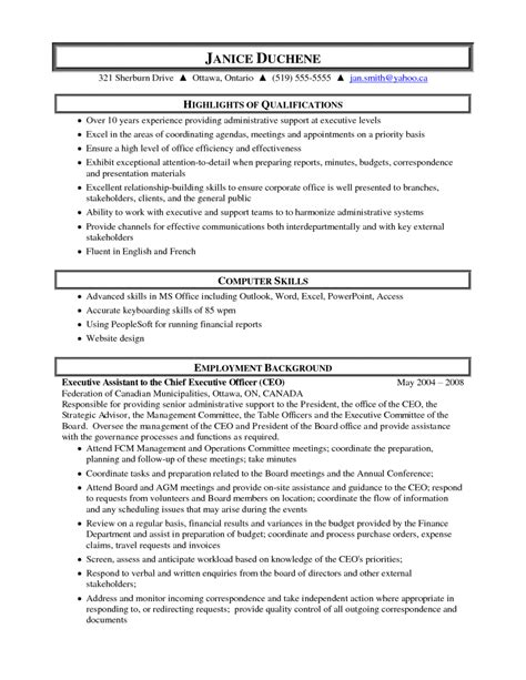 executive administrative assistant resume sles 10 sle resume for administrative assistant