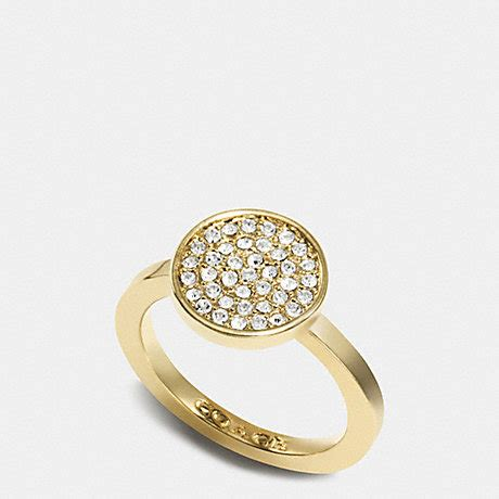 pave disc ring f99943 gold coach accessories all