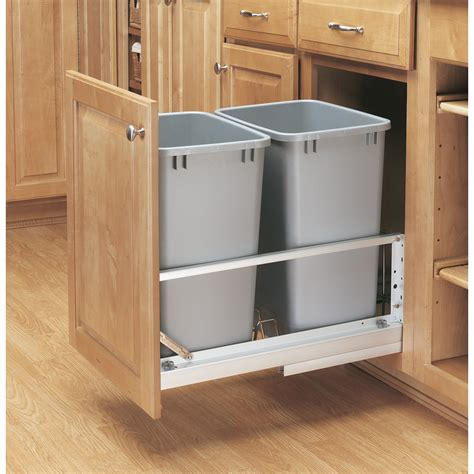 kitchen cabinet trash can pull out shop rev a shelf 35 quart plastic pull out trash can at