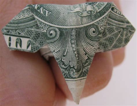 Origami Elephant Dollar - elephant ring money origami money dollar origami