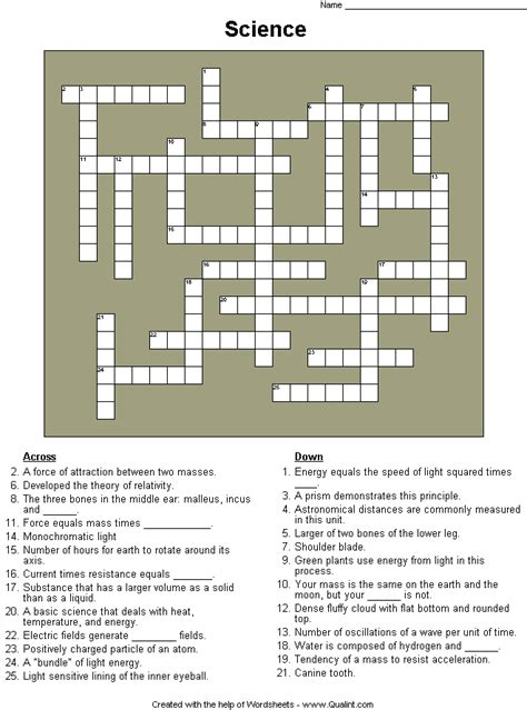printable crossword puzzle science science crossword puzzles images pictures photos