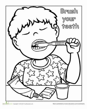 preschool coloring pages dental health words to live by brush your teeth worksheet education com