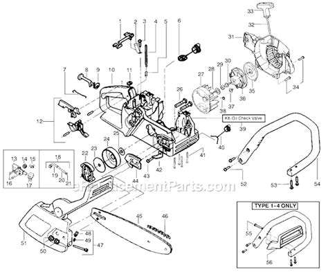poulan 2050 parts list and diagram type 1