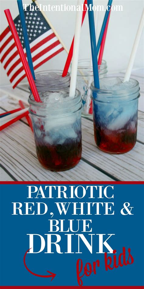 Patriotic Red White Blue Drink For Kids White And Blue Patriotic
