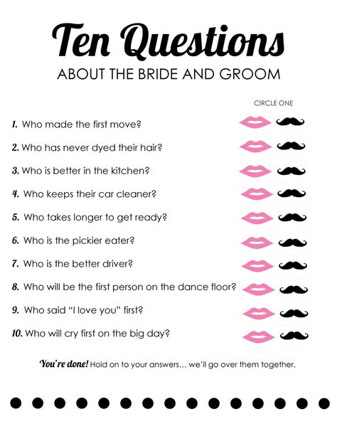 instant download bridal shower bride and groom questions