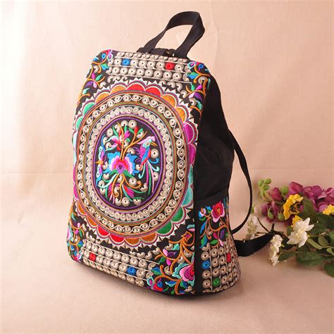 Handmade Embroidered Bags - national trend canvas embroidery ethnic backpack