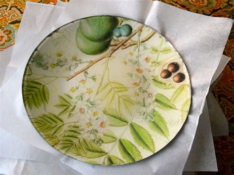 How To Decoupage Plates - flowering branches decoupage plate plum by