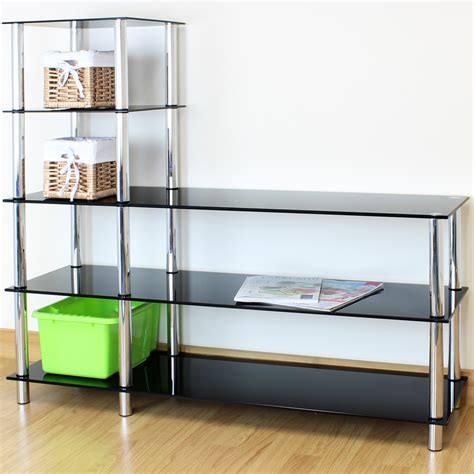 Bedroom Display Units L Shape Black Glass 5 Tier Shelf Display Unit Office
