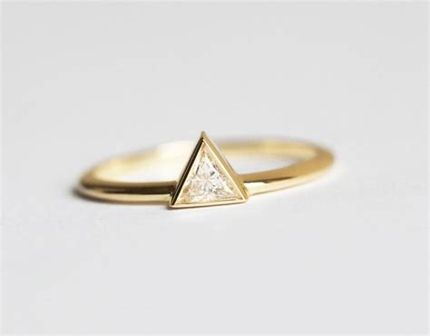 yellow gold engagement ring triangle ring