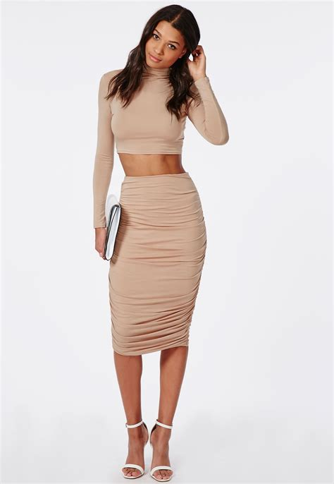 ruched seam midi skirt