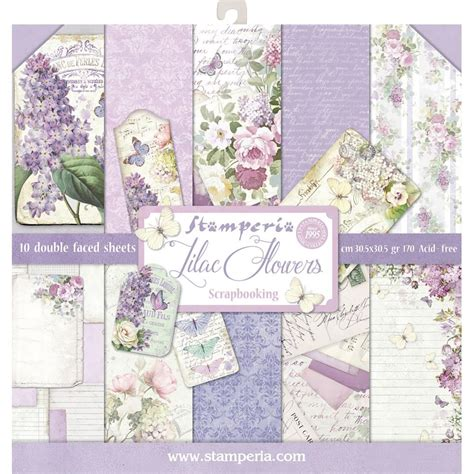 12x12 paper pad lilac 10 double sided sheets by
