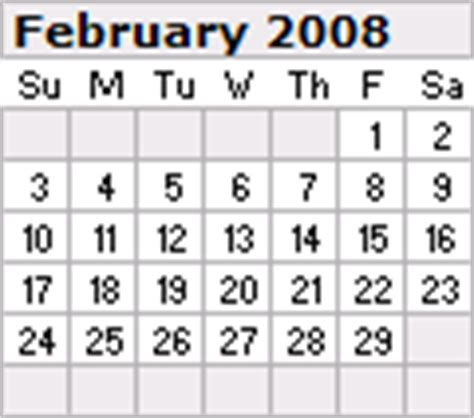 February 2008 Calendar Calendar For February 2008 New Calendar Template Site