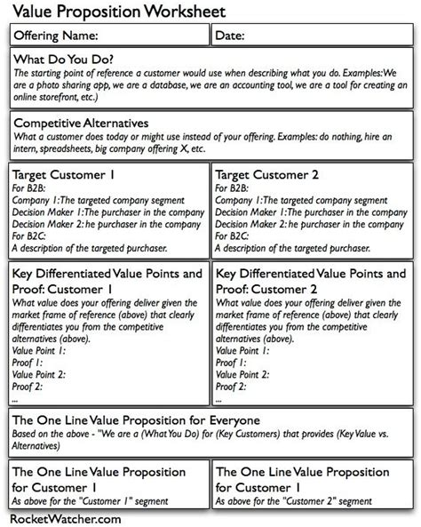 best value sheets value proposition worksheet marketing selling