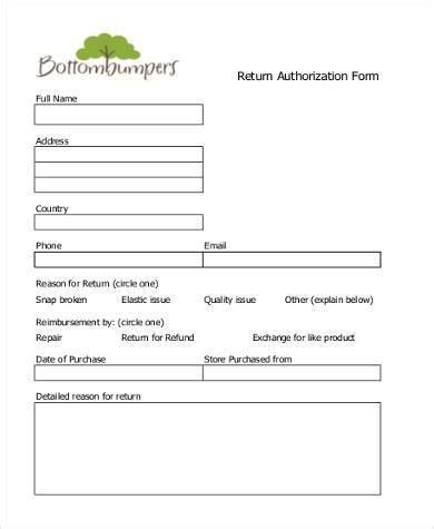 Sle Return Authorization Forms 8 Free Documents In Pdf Free Return Authorization Form Template