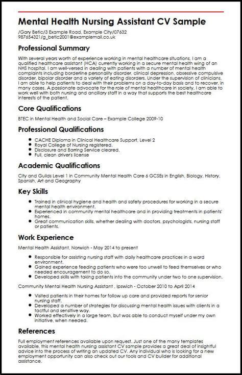 free nursing curriculum vitae templates mental health nursing assistant cv sle myperfectcv