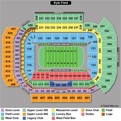 kyle field section map venue map
