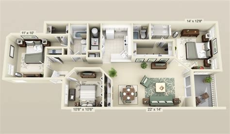 3d 3 bedroom house plans cool 3 bedroom 3d plans interior design ideas