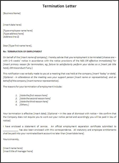 termination letter format due to illness free professional termination letter sles formats