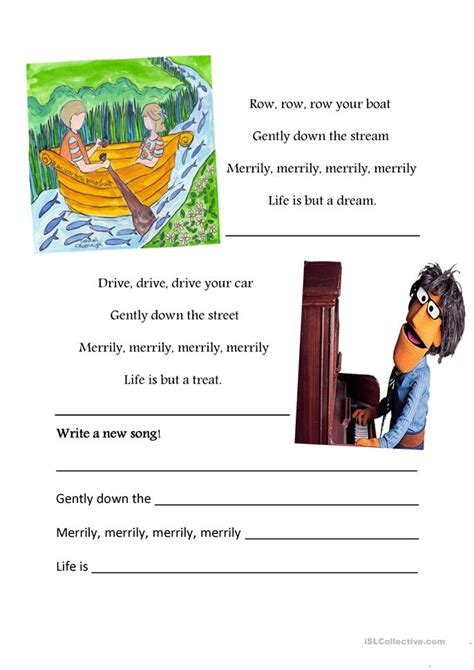 row your boat worksheet row your boat drive your car worksheet free esl