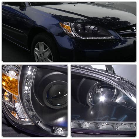 Headl Civic White Projector 2004 2005 1 2004 2005 honda civic 2dr coupe r8 style led drl projector headlights black