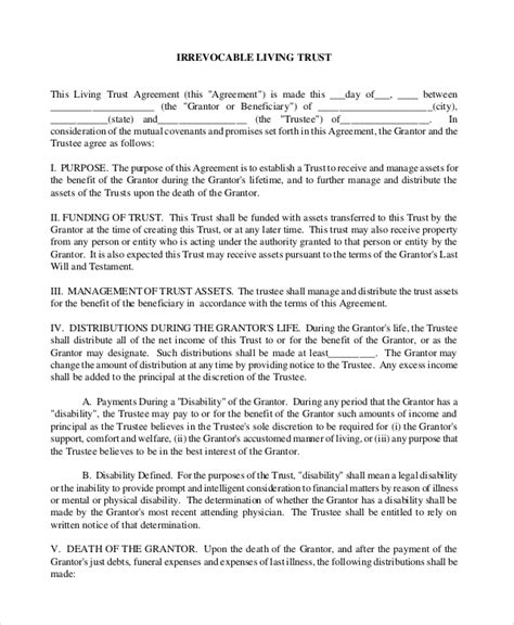 living trust templates sle living trust form 8 exles in pdf word