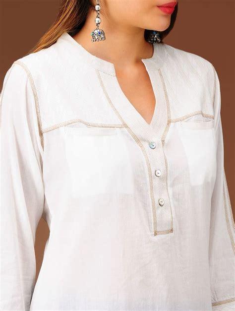 shirt pattern kurta buy ivory embroidered yoke cotton kurta online tunics