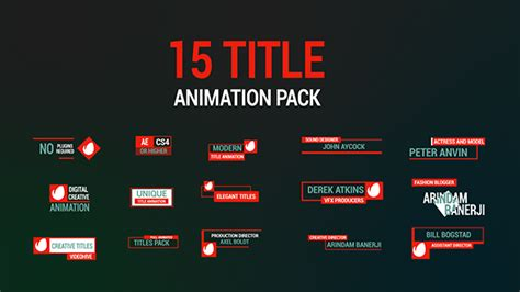title animation after effects template 15 title animation pack titles after effects templates